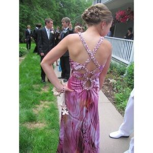 Faviana pink, open-back, sequined prom gown size 4
